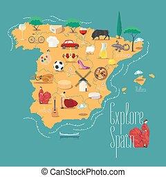 karta, illustration, element, vektor, design, spanien