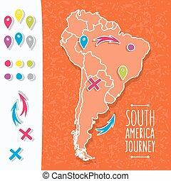 karta, illustration, hand, apelsin, vektor, nålen, oavgjord, amerika, syd