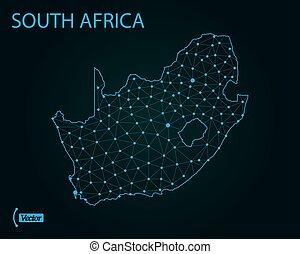 karta, illustration., vektor, afrika., värld, syd