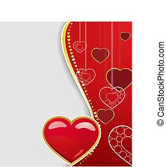karta, ilustracja, karta, wektor, powitanie, valentine, list miłosny