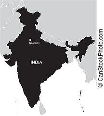 karta, indien, svart