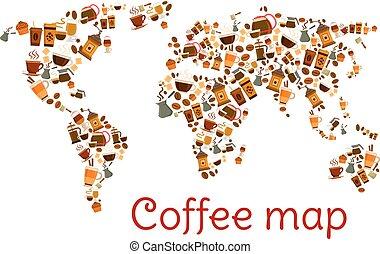 karta, kaffe kopp, efterrätt, affisch, värld