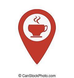 karta, kaffe, pekare, kopp