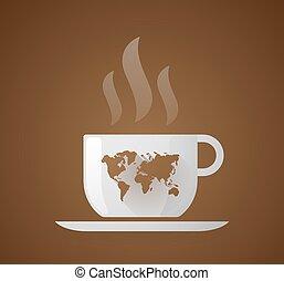 karta, kaffe, värld kopp