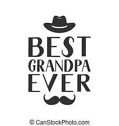 karta, kartka pocztowa, redagować, szablon, itd., ręka, wektor, odpoczynek, najlepszy, grandfather., kapelusz, powitanie, afisz, kiedykolwiek, dzień, chorągiew, dziadkowie, kubek, dziadunio, mustache., tytuł, t-shirt