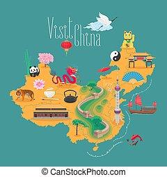 karta, kinesisk, ikonen, milstolpar, illustration, vektor, design, porslin, element.