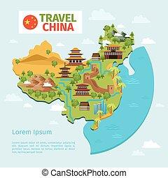 karta, kinesisk, resa, traditionell, vektor, porslin, milstolpar