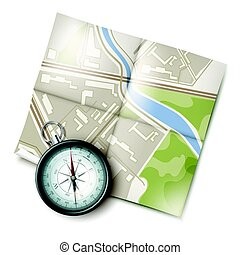 karta, kompass