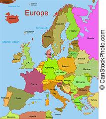 karta, kontinent, europe