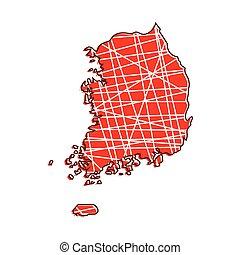 karta, korea, färgad, syd