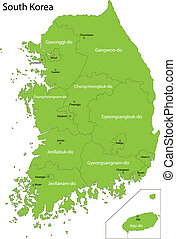 karta, korea, grön, syd