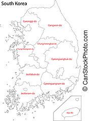 karta, korea, kontur, syd
