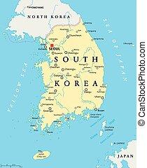 karta, korea, politisk, syd