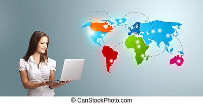 karta, kvinna, färgrik, laptop, ung, presenterande, ...