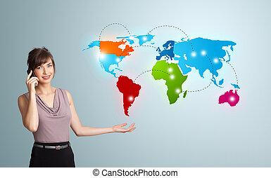 karta, kvinna, färgrik, ung, påringning, tillverkning, värld