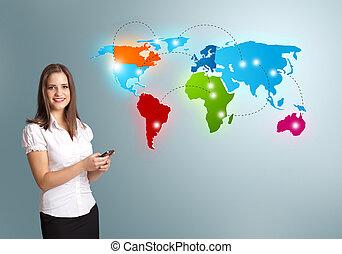 karta, kvinna, färgrik, ung, ringa, presenterande, holdingen...