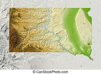 karta, lättnad, södra dakota, skuggat