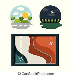 karta, lokalisering, landskap, morgon natt, skog, mountains