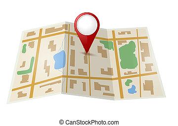 karta, med, röd, pekare