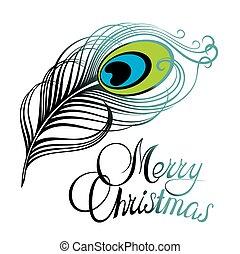 karta, merry christmas, opeřit