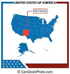 karta, mexico, ram, flagga, amerikan, färsk