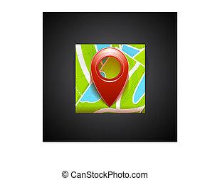 karta, mobil, app, -, etikett, navigation, symbol, ikon