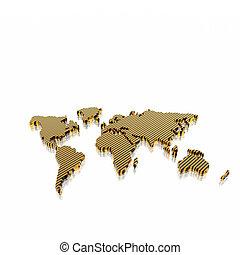 karta, modell, geografisk, värld