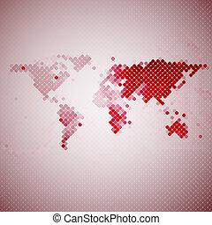 karta, mosaik, abstrakt, illustration, vektor, värld, röd