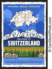karta, moutains, resa, schweiz, alpin, schweizisk