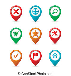 karta, nålen, med, ikonen