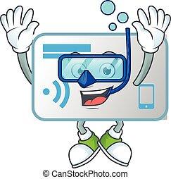 karta, nfc, maskotka, okulary, chodząc, nurkowanie, ikona
