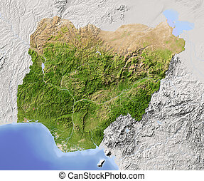 karta, nigeria, skuggat, lättnad