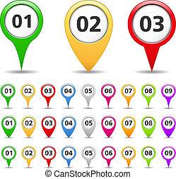 karta, numrerar, märken