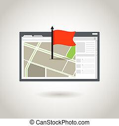 karta, och, a, röd, flag., guidence, begrepp