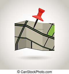karta, och, a, röd, pin., guidence, begrepp