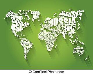 karta, ord, typografi, moln, värld