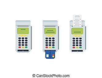 karta, płaski, eps10, nowoczesny, pos, terminal, kredyt, projektować, drukowany, vector., reciept., wstawiany, element.