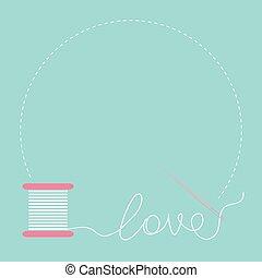 karta, płaski, okrągły, ułożyć, szpulka, miłość, igła, desigh, nitka