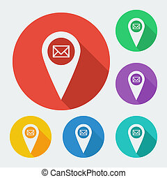 karta, pekare, ikon, med, länge, skugga, -, geo, etikett, vektor, nät, illustration, sex, färger, set.