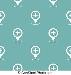 karta, pekare, sjukhus, mönster, blå, seamless