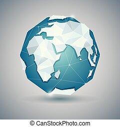 karta, planet, klot, eller, mull, ikon