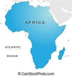 karta, politisk, afrika