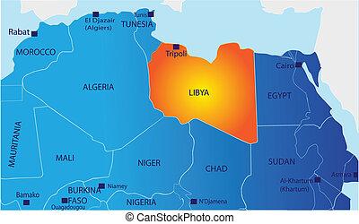 karta, politisk, libyen