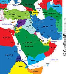 karta, politisk, mellersta östern