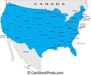 karta, politisk, usa