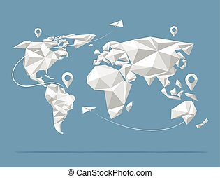 karta, poly, vektor, illustration, värld, låg