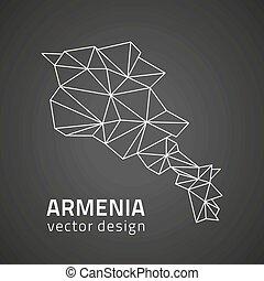 karta, polygonal, svart, perspektiv, armenien, skissera
