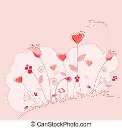 karta, powitanie, kwiaty, dzień, valentine