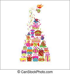 karta, pozdrav, barvitý, dar, vánoce