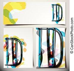 karta, pozdrav, d, litera, umělecký